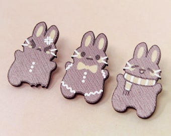 Gingerbread Bunny Pin Set (3) - 35mm / 1.3 in - kawaii japan anime cute pastel usagi fairy kei bunny christmas holiday rabbit lapel pin gift