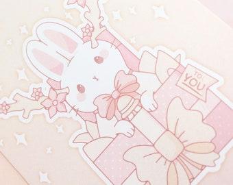 Holiday Jackalope Bunny A6 Greeting Card - birthday gift bunny rabbit usagi christmas present kawaii pastel cute card made in Wisconsin