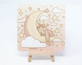 "5"" Square ""Moon Bunny"" Witchy Night Magic Print - Kawaii Pastel Fairy Kei Yoru Rabbit Aesthetic Cute Digital Wall Art by Wisconsin Artist"