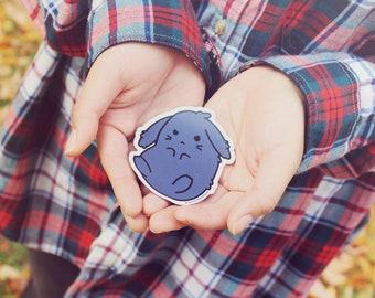 "3"" kawaii goth kurosagi grumpy cute tsundere bad bunny lying down japanese anime inspired die cut fridge locker magnet"