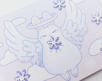 Handmade in Wisconsin Winter Angel A6 Greeting Card - birthday bunny rabbit usagi snow winter holiday new years valentines kawaii cute card