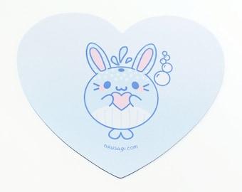 Heart Shaped Mizusagi Mouse Pad - Pastel Fairy Kei Kawaii Cute Bunny Whale Mouse Desk Mat Anime Inspired Gift for Streamer Rabbit Usagi