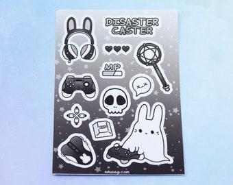 "Disaster Caster Vinyl Sticker Sheet (A7/3""x4"") - Kawaii Cute Bunny Gamer Goth Magical Girl Anime Streamer Video Games Gaming Stationary"