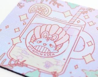 "3.5"" Square Rubber Coaster - Kawaii Pastel Fairy Kei Bunny Whale Funny Pun Seashell Beach Summer Usagi Cute Rabbit Drink Polyester Coaster"