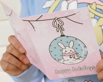 A6 sized nikusagi kawaii bunny rabbit usagi pastel happy holiday winter snow snowglobe greeting birthday card