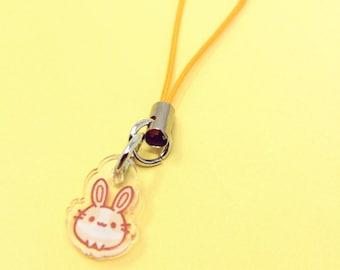 "Mini Baby Nikusagi Phone Strap Charm ( 0.5"" / 1.25 cm ) - fairy kei bunny rabbit usagi kawaii japanese anime clear acrylic charm keychain"