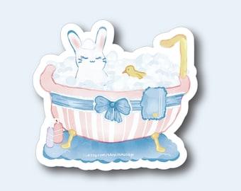 "3"" Bathtub Bun Vinyl Sticker - Kawaii Cute Bunny Pastel Rabbit Usagi Japanese Anime Adorable Stationary Flake Sticker for Laptop Notebook"