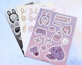 Party Pack Vinyl Sticker Sheet Set (4 Sheets: Tank, Healer, Bard, Caster) - Kawaii Cute Bunny Gamer Anime Video Games Gaming Stationary