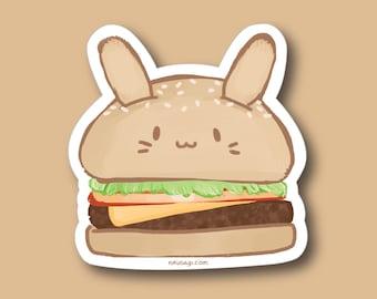 "3"" Hamburger Bun Vinyl Sticker - Kawaii Cute Bunny Rabbit Usagi Japanese Anime Junk Food Burger Stationary Flake Sticker for Laptop Notebook"