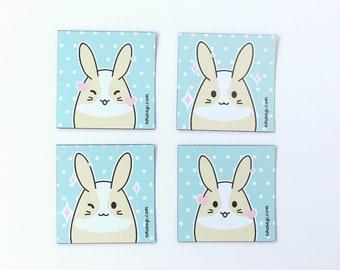 nikusagi kawaii pastel polka dot dutch bunny rabbit pastel assorted square mini fridge locker magnets