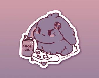 "3"" Anger Juice Vinyl Sticker - Kawaii Cute Goth Lop Bunny Rabbit Gamer Usagi Video Game Anime Stationary Flake Sticker for Laptop Notebook"