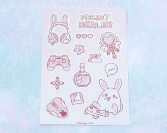"Pocket Healer Vinyl Sticker Sheet (A7/3""x4"") - Kawaii Cute Bunny Gamer Mahou Shoujo Magical Girl Anime Pastel Sakura Pink Gaming Stationary"