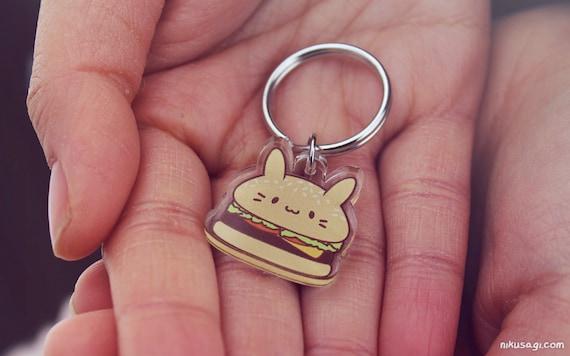 BurgerBun Keychain Kawaii Accessory Cute Food Burger Bunny Charm Bunny Usagi Acrylic Keyring