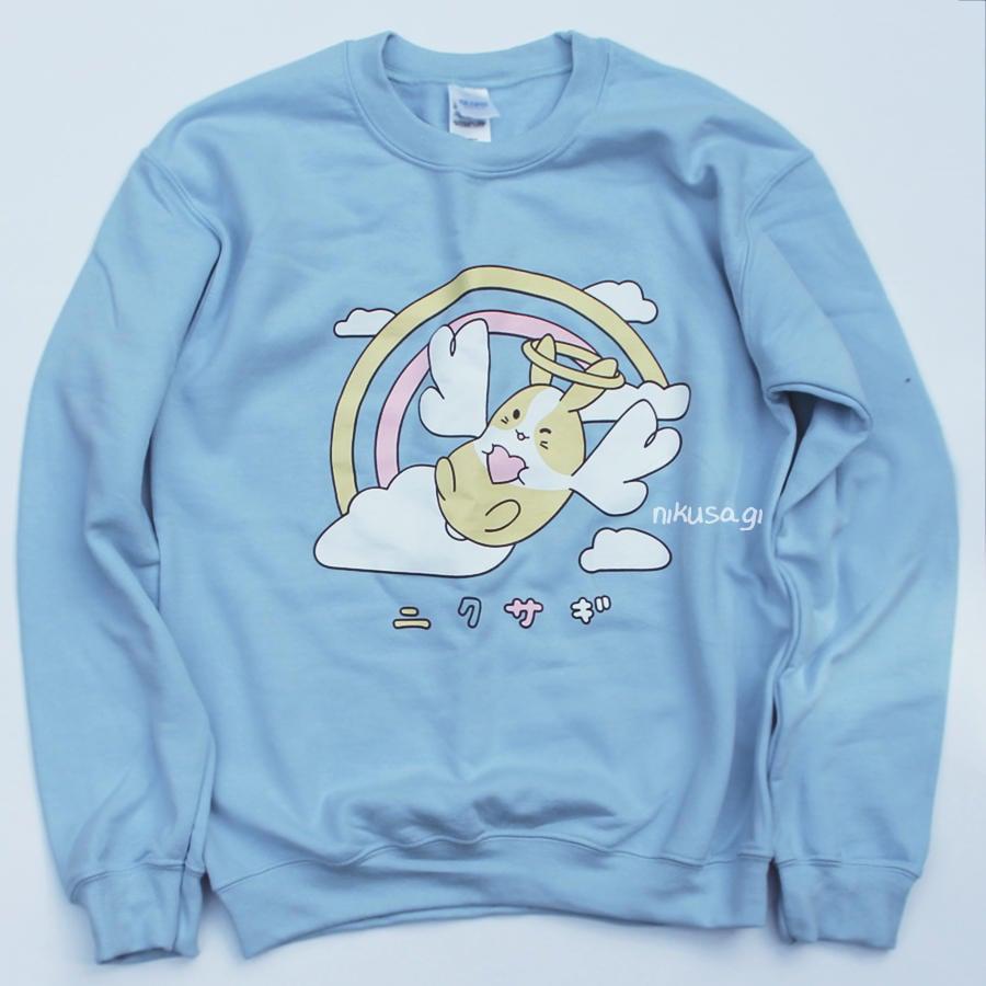 7d6eb1a2b Kawaii pastel nikusagi angel bunny with wings rainbow sweater