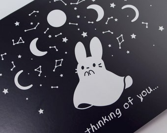 Thinking of You Bunny Ghost A6 Greeting Card - birthday gift witchy witch spooky halloween rabbit usagi kawaii goth cute - Made in Wisconsin