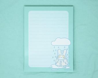 "4"" x 5.5"" raincoat rabbit memo pad - kawaii cute pastel rainy day stationary bunny usagi japanese anime weather paper pad LOCALLY PRINTED!"