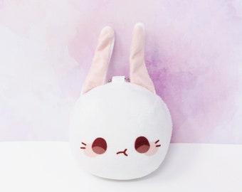 "3"" Marosagi Manjuu Plush Keychain - 7.5 cm (not including ears) - Kawaii Cute Anime Pastel Bunny Rabbit Usagi Squishy Plushie Stuffed Charm"