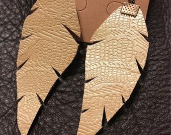 Imprinted Shimmer Leather Earrings