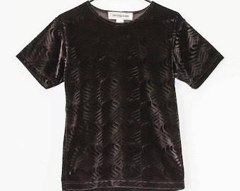 Black Velvet Optical Patterned Boxy Shirt