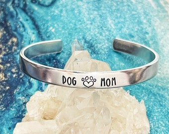 Dog Mom Gift, Rescued is my Favorite Breed, Handstamped Stainless Cuff Bracelet, Adopt Don't Shop, Rescue Mom, New Dog Gift, Paw Prints, Dog
