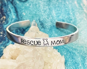 Rescue Mom Gift, Rescued is my Favorite Breed, Handstamped Stainless Cuff Bracelet, Adopt Don't Shop, Rescue Mom, Dog Mom, Chihuahua