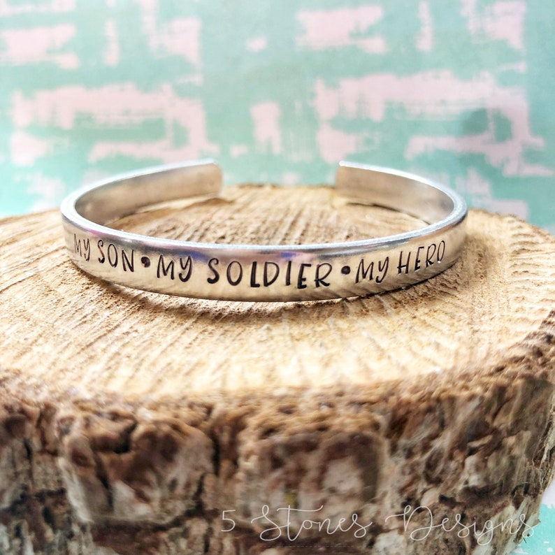 fd8835cfefd My Hero My Son My Soldier Military Bracelet Proud Army Mom | Etsy