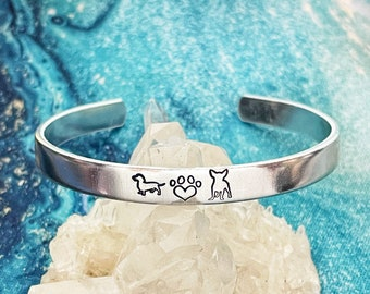 Dog Mom, Rescued is my Favorite Breed, Handstamped Stainless Cuff Bracelet, Adopt Don't Shop, Rescue Mom, Dachshund, Chihuahua, Paw Prints