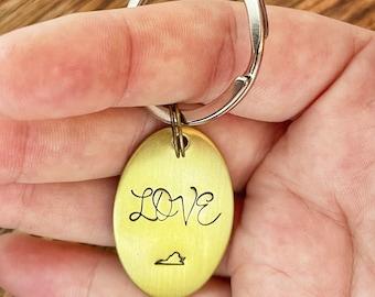 Virginia is for Lovers, Handstamped Virginia Keychain, UVA, Graduation Gift, Virginia Tech, VA Keychain, Moving Gift, Housewarming, Keys