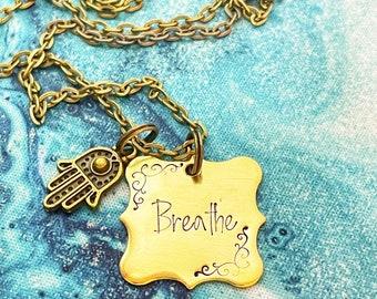 Breathe Hamsa Hand, Magic Gold Necklace, Mantra, Handstamped Necklace, Goddess Necklace, Goddess Magick, Yoga Gift for Her, Hamsa Keychain