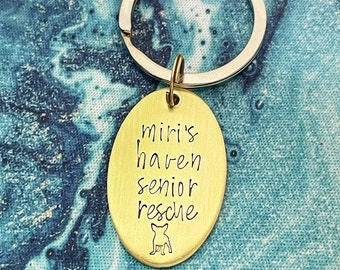 Miri's Haven Senior Rescue, Personalized Handstamped Keychain, Gift for Dog Lover, Rescue Mom, Rescue Name, Rescued Is My Favorite Breed