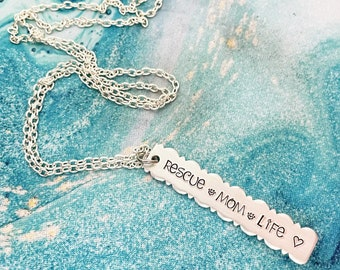 Rescue Mom Life, Rescued is my Favorite Breed, Handstamped Necklace, Adopt Don't Shop, Rescue Mom, Dog Mom, Scalloped Pendant