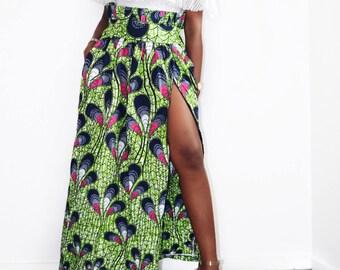 Adjustable long skirt with slit