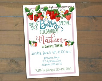 Berry Special Celebration - Birthday Invitation - Strawberry Themed Birthday