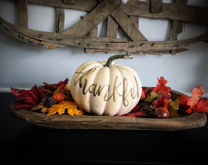 Featured listing image: Hand Lettered Faux White Pumpkin Thankful