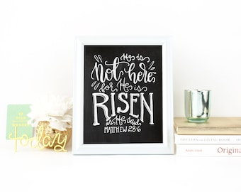 He Is Risen - Easter Print - Chalkboard Digital Print