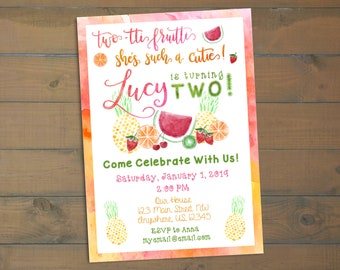 Two-tti Fruitti - 2nd Birthday Invitation - Fruit Themed Birthday
