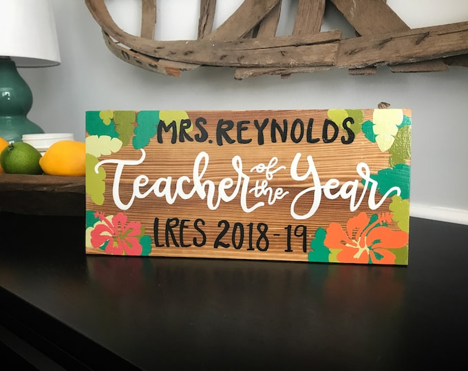 Featured listing image: Teacher of the Year Gift - Teacher Name Sign - Wooden Name Sign - Teacher Appreciation