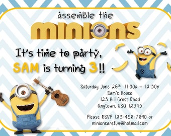 Minion Birthday Party Invitations Set - Custom Birthday Invitation - Birthday Banner - Birthday Iron On T-shirt Transfer