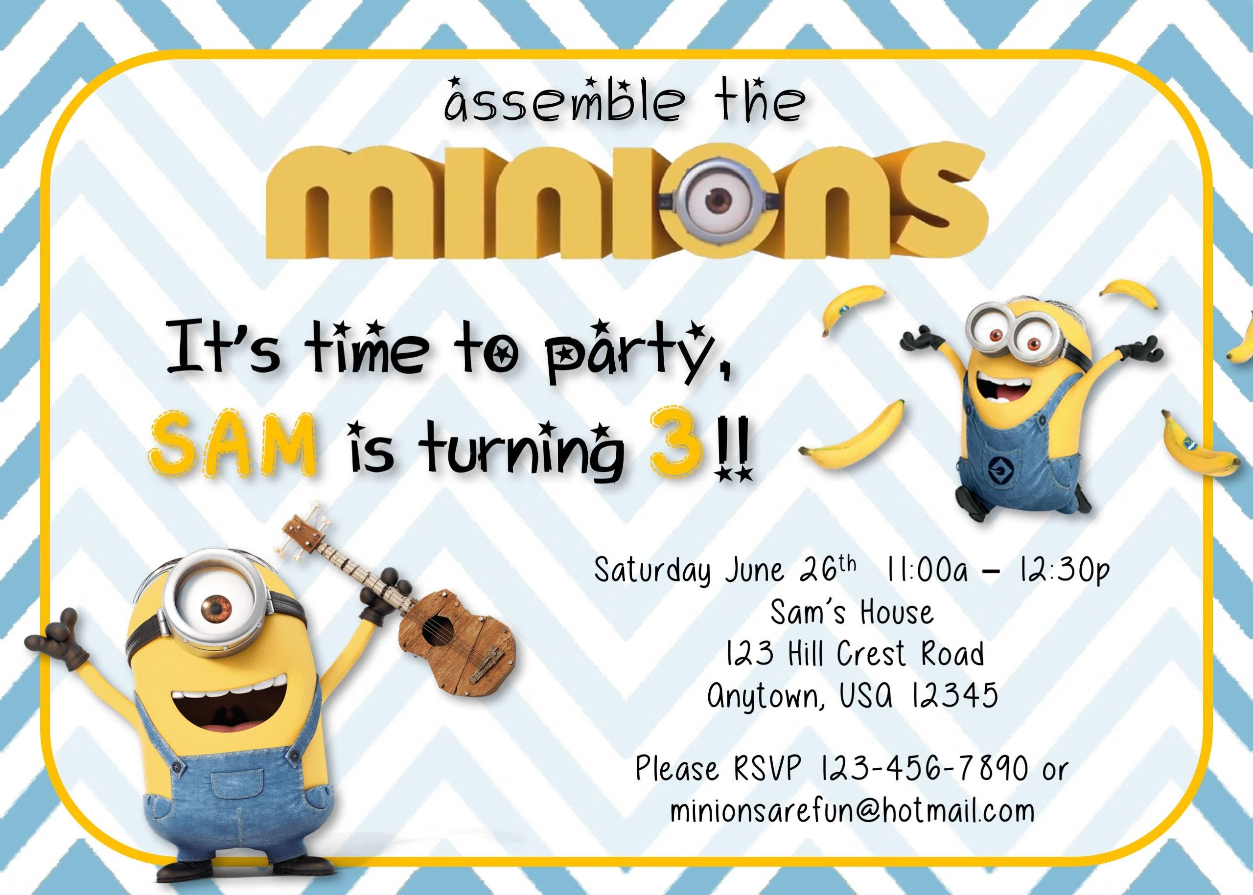 Minion Birthday Party Invitations Set