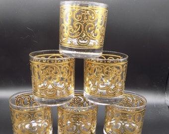 Vintage Georges Briard Spanish Golden Swirl Pattern Rocks Glasses Set of 6