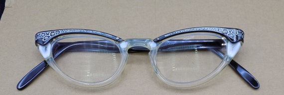 "Vintage Foremost Cat Eye Glasses 5 3/4"" Metal Etch"