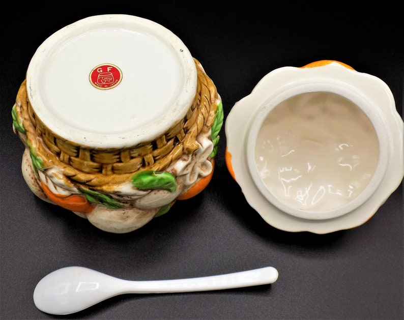 Orange Marmalade JarSugar Bowl with Original Spoon GF Citrus Cluster Made in Japan Mid Century Ceramic