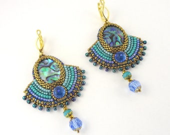 Bead embroidery earrings with pearl shell cabochons