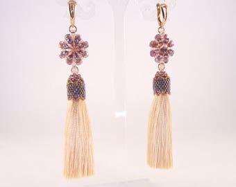 Seed bead woven earrings with tassel & Swarovski crystal