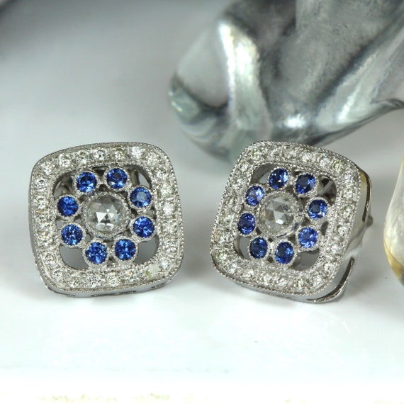 14K YELLOW GOLD 2CT OVAL GENUINE SAPPHIRE AND DIAMOND STUD EARRINGS