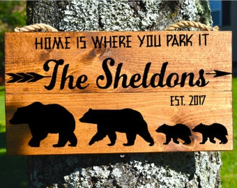 Custom Camping Sign Camp Site Family Home Is Where You Park It Camper Personalized Happy