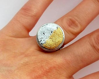 Moon phase ring Boho ring woman Leather ring women Crescent moon ring gold Crescent moon ring Gold silver ring Phase of the moon ring