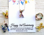 3rd anniversary gift for her Flower initial necklace