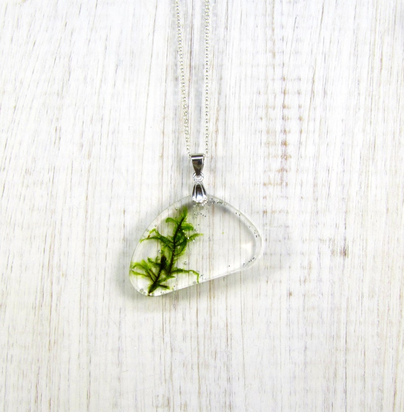 Pressed flower resin terrarium necklace pendant Real moss necklace