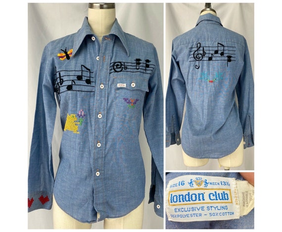 Vintage 1970s Embroidered Chambray Shirt, Youth L/